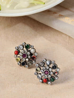 Multicolored Silver Earrings