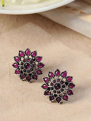 Maroon Silver Earrings