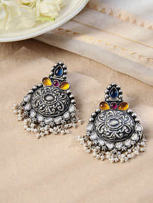 Mulitcolored Tribal Silver Earrings with Pearls