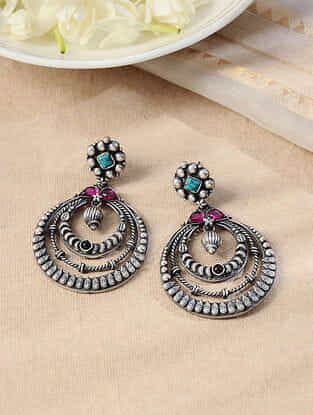 Maroon Turquoise Tribal Silver Earrings