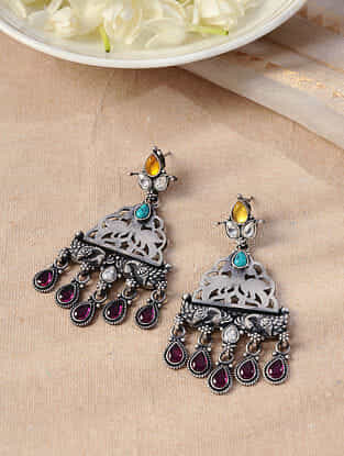 Multicolored Temple Silver Earrings