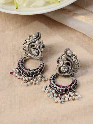 Maroon Green Tribal Silver Earrings with Pearls