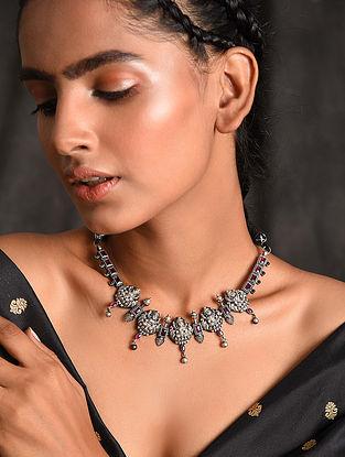 Maroon Temple Silver Necklace
