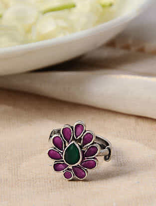 Maroon Green Silver Adjustable Ring