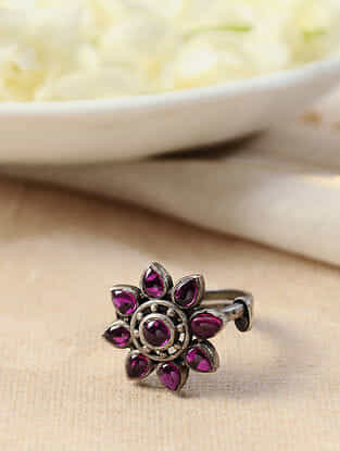 Maroon Silver Adjustable Ring
