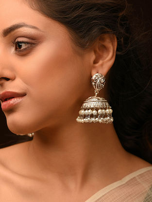 Dogri Silver Jhumki Earrings with Pearls