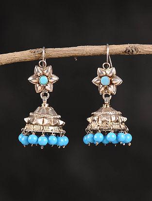 Turquoise Dogri Silver Jhumki Earrings