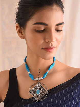 Turquoise Silver Naama Necklace