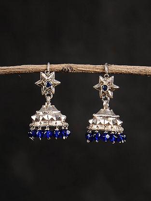 Blue Silver Dogri Jhumki Earrings