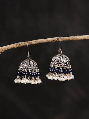 Blue Dogri Silver Jhumki Earrings with Pearls