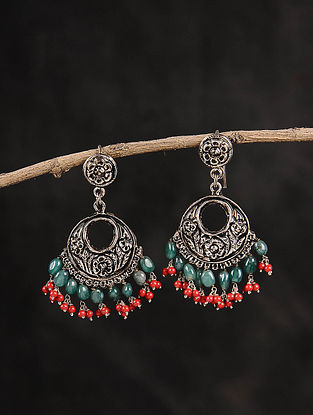 Red Green Dogri Silver Baala Earrings