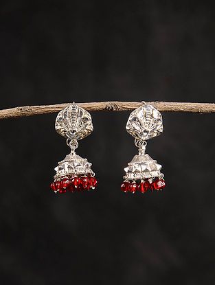 Red Dogri Silver Jhumki Earrings