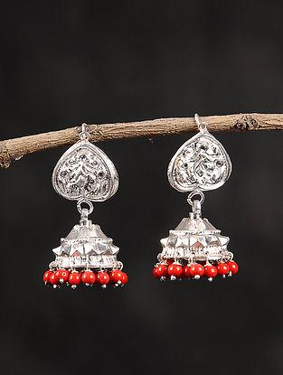 Orange Dogri Silver Jhumki Earrings