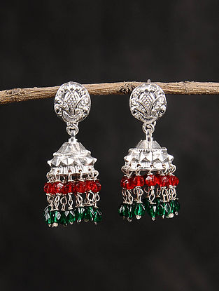 Red Green Dogri Silver Jhumki Earrings
