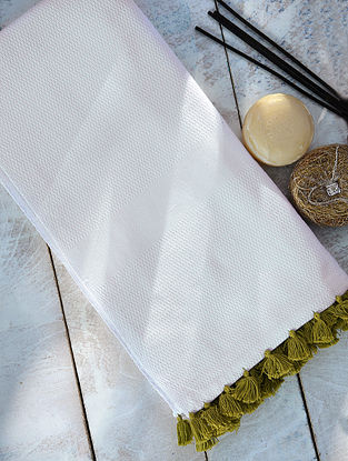 White Hand Woven Cotton Bath Towel with Tassels (Length - 62in, Width - 32in)