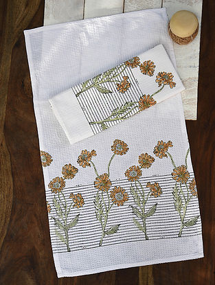 Ochre and Green Handblock Printed Cotton Hand Towels (Set of 2)(23.6in x 14.5in)