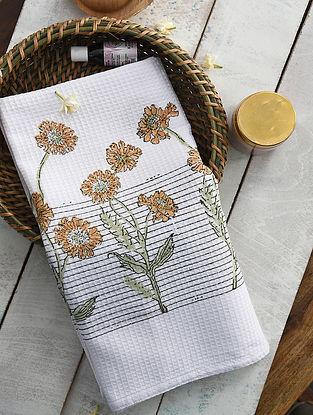 Ochre and Green Handblock Printed Cotton Bath Towel (59in x 29.5in)
