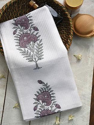 Purple and Green Handblock Printed Cotton Bath Towel (59in x 29.5in)