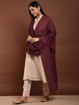 Maroon Handloom Cotton Dupatta with Tassels