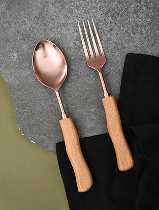 Rose Gold and Brown Handmade Stainless Steel and Wood Salad Servers (Set of 2)