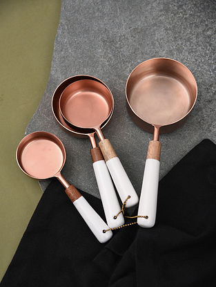 Rose Gold and White Handmade Stainless Steel and Wood Measuring Cups (Set of 4)