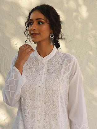 ABHIJNA - White Chikankari Embroidered Cotton Kurta with Mukaish