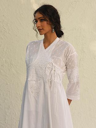 ANANDI - White Chikankari Embroidered Cotton Kedia Kurta with Mukaish