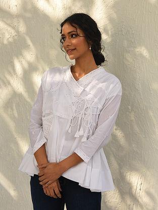 PARIVITA - White Chikankari Embroidered Cotton Kedia Top with Mukaish