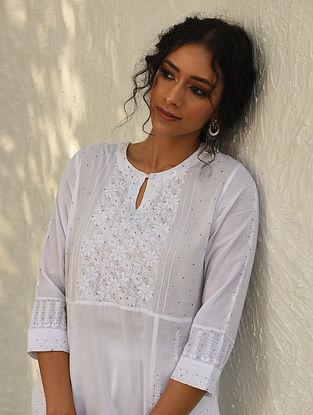 PRANAYITA - White Chikankari Embroidered Cotton Kurta with Mukaish