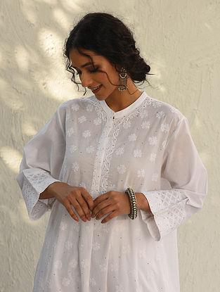 PRANAVATI - White Chikankari Embroidered Cotton Kurta with Mukaish