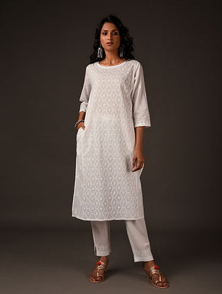 PREETIKAAL - White Chikankari Embroidered Cotton Kurta with Mukaish