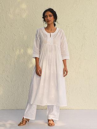 RUCHIRA - White Chikankari Embroidered Cotton Kurta with Mukaish