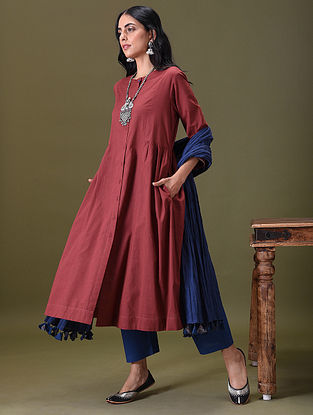 SVADHI - Maroon Embroidered Button-Down Cotton Kurta with Gathers