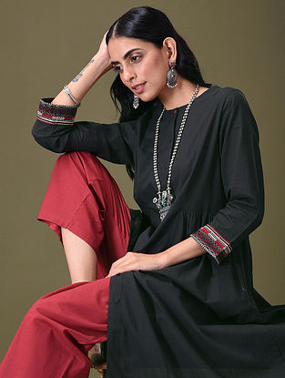 TAASHU - Black Embroidered Button-Down Cotton Kurta with Gathers
