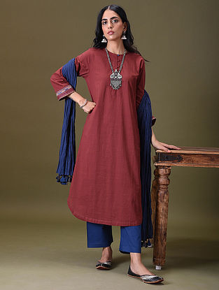 YUVANI - Maroon Embroidered Cotton Kurta with Pockets