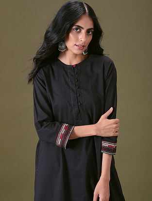 ZAHBIA - Black Embroidered Cotton Kurta with Pockets