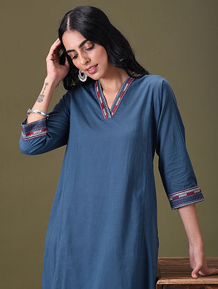 ANEESHA - Blue Embroidered Cotton Kurta with Pockets