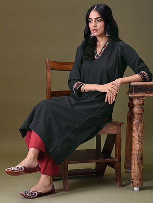 BRINDHA - Black Embroidered Cotton Kurta with Pockets