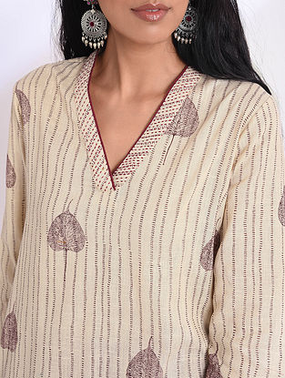AARYA - Beige Block Printed Cotton Kurta