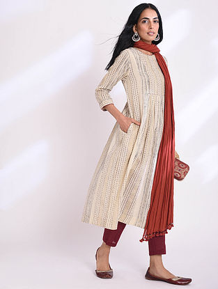 BHAVANI - Beige Block Printed Cotton Kurta