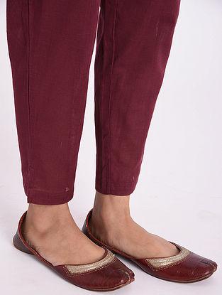 Maroon Cotton Slub Pants