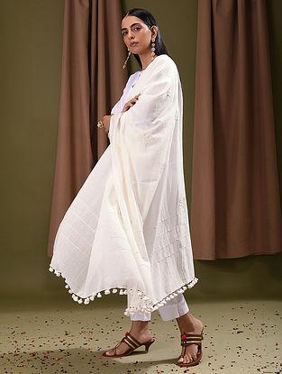 White Cotton Dupatta with Phool-Patti Applique Work