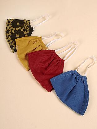 Snug Fit - Triple Layered 100% Cotton Mask (Set of 4)