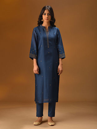NEELAM - Blue Hand Embroidered Silk Cotton Kurta