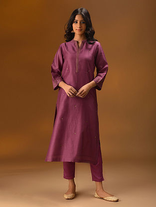 BILLAUR - Pink Hand Embroidered Silk Cotton Kurta