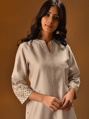 PHEEROZA - Ivory Hand Embroidered Silk Cotton Kurta