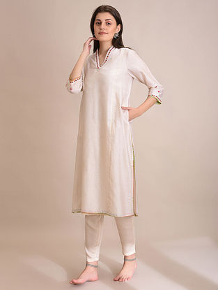 ESHAAL - Ivory Embroidered Silk Cotton Kurta with Slip