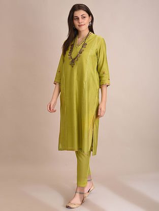 RIMISHA - Lime Embroidered Silk Cotton Kurta with Slip