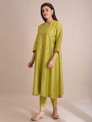NUKHBHA - Lime Embroidered Silk Cotton Kalidar Kurta with Slip