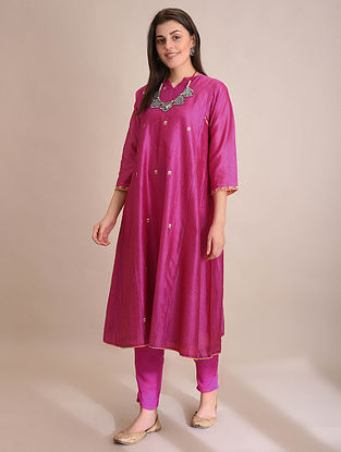 SAMINA - Pink Embroidered Silk Cotton Kalidar Kurta with Slip